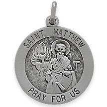 Sterling Silver Saint Matthew 18.5mm Religious Medal Medallion