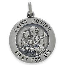Sterling Silver Saint Joseph 18.5mm Religious Medal Medallion