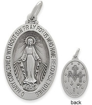 Sterling Silver Miraculous Mary Religious Medal Medallion
