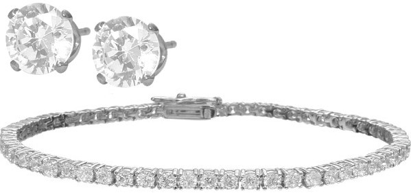 Genuine Sterling Silver 2.95tcw. Tennis Bracelet & FREE SWAROVSKI ...