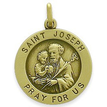 14 Karat Yellow Gold Saint Joseph Religious Medallion