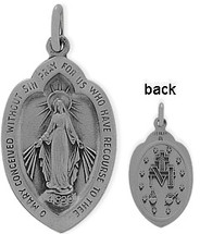 Religious Sterling Silver Mary Medal Medallion