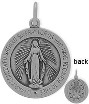 Round Sterling Silver Religious Mary Medal Medallion