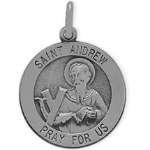 Sterling Silver St. Andrew Religious Medal Medallion