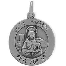Sterling Silver St. Barbara Religious Medal Medallion