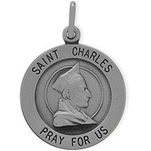 Sterling Silver St. Charles Religious Medal Medallion