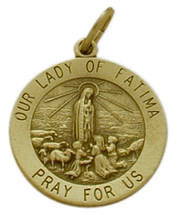 14 Karat Yellow Gold Our Lady of Fatima Medal Medallion