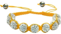 Ladies Yellow Fibre Cubic Zirconia Ball Bracelet