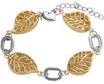 Stainless Steel Two Tone Leaf Link Bracelet