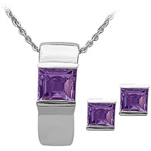 Ladies Sterling Silver Amethyst Pendant & Earrings Set
