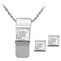 Ladies Sterling Silver White Topaz Pendant & Earrings Set