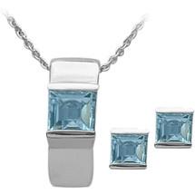 Ladies Sterling Silver Blue Topaz Pendant & Earrings Set