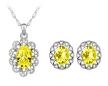 SWAROVSKI® Elements Oval Pendant & Earrings Set