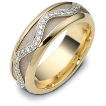 Designer 14 Karat Two-Tone Gold SPINNING Unique Diamond Eternity Wedding Band Ring
