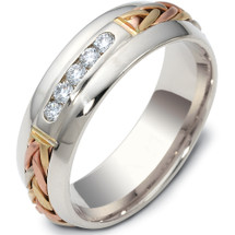 Designer 14 Karat Tri Color Channel Set Woven Diamond Gold Wedding Band Ring
