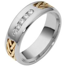 14 Karat Two-Tone Gold Channel Set Multi Texture Diamond Wedding Band Ring