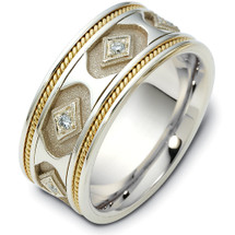 14 Karat Two-Tone Gold Diamond Etruscan Style Unique Wedding Band Ring