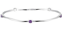 Genuine Sterling Silver Genuine Amethyst Bracelet