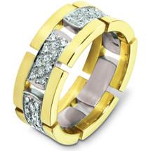 Designer 14 Karat Two-Tone Gold Unique 66 Diamond Wedding Band Ring