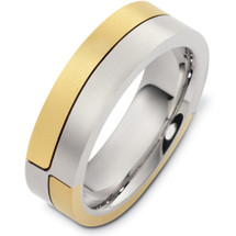 Designer 14 Karat Two-Tone Gold Unique  Wedding Band Ring