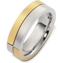 Designer 14 Karat Two-Tone Gold Unique  Wedding Band Ring
