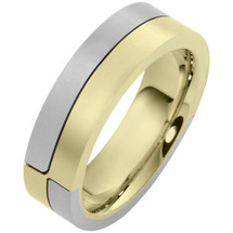 Designer 14 Karat Two-Tone Gold Unique Comfort Fit Wedding Band Ring