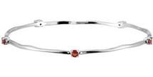 Genuine Sterling Silver Garnet Stackable Bracelet