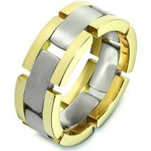 Unique 14 Karat Two-Tone Gold Link Style Designer Wedding Band Ring