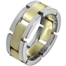 Unique 14 Karat Two-Tone Gold Link Style Designer Comfort Fit Wedding Band Ring