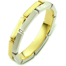 Unique 14 Karat Two-Tone Gold Link Style Wedding Band Ring