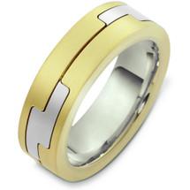 14 Karat Two-Tone Gold Unique Designer Wedding Band Ring