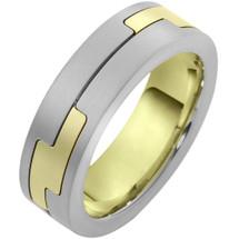 14 Karat Two-Tone Gold Unique Designer Comfort Fit Wedding Band Ring