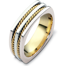 Designer 14 Karat Two-Tone Gold Square Rope Style Wedding Band Ring