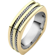 14 Karat Two-Tone Gold Comfort Fit Square Rope Style Wedding Band Ring