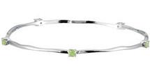 Genuine Sterling Silver Peridot Stackable Bracelet