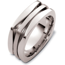 14 Karat White Gold Designer High Polish Wedding Band Ring