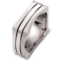 14 Karat Designer White Gold Square Style Wedding Band Ring