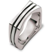 Designer 14 Karat White Gold Square Rope Style Wedding Band Ring