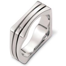 Designer 14 Karat White Gold Square Style Unique Diamond Wedding Band Ring