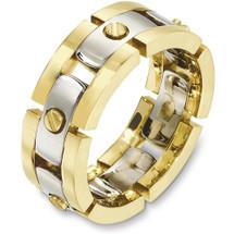 8.5mm 14 Karat Two-Tone Gold Link Style Wedding Band Ring