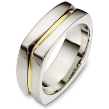 7.5mm Square Style 14 Karat Two-Tone Gold Wedding Band Ring