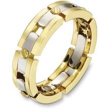 6mm 14 Karat Two-Tone Gold Link Style Wedding Band Ring