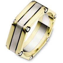 7mm 14 Karat Two-Tone Gold Square Style Wedding Band Ring