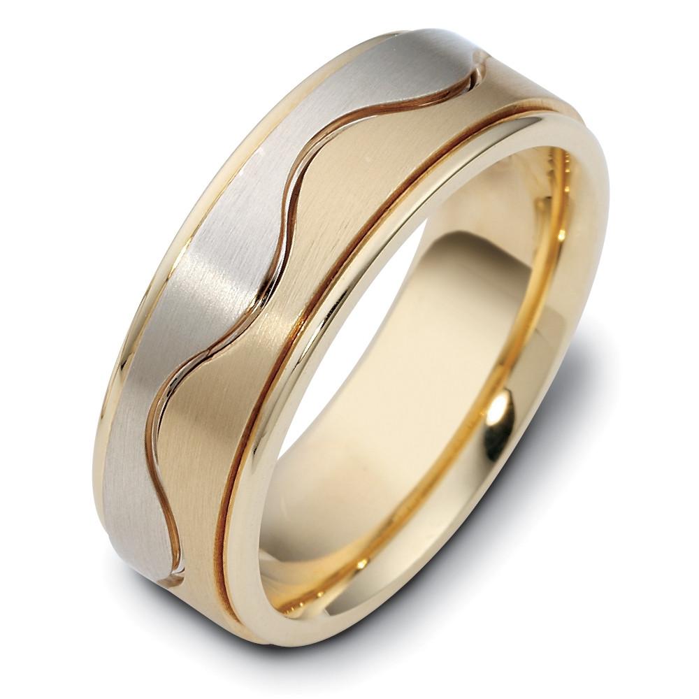 Designer 14 Karat Two Tone Gold Flat Wave Style Unique