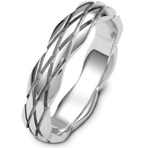 Designer Diamond Cut 14 Karat White Gold Wedding Band Ring