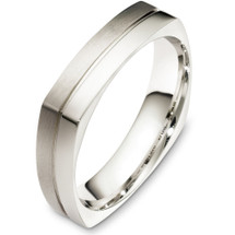 5mm 14 Karat White Gold Square Style Wedding Band Ring