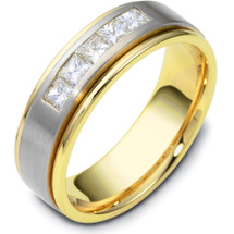 14 Karat Two-Tone Gold Channel Set Diamond Wedding Band Ring