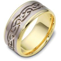 Designer 14 Karat Two-Tone Celtic Wedding Band Ring