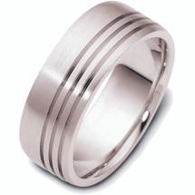 Designer 14 Karat White Gold Wedding Band Ring