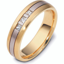 14 Karat Two-Tone Fold Channel Set Diamond Wedding Band Ring
